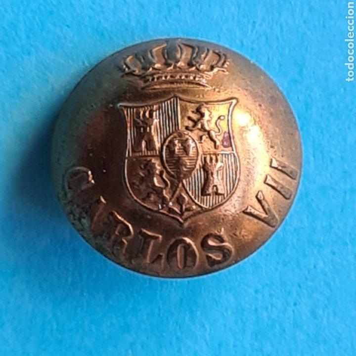 ANTIGUO BOTON CARLISTA - CARLOS VII - DIAMETRO 2 CM - ORIGINAL EN MUY BUEN ESTADO (Militar - Botones )