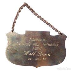 Militaria: PLACA AL ALMIRANTE CARLOS VILA MIRANDA, JEFE DEL ESTADO MAYOR DE LA ARMADA.. Lote 264545154
