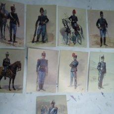 Militaria: 9 TARJETAS POSTALES CON LOS UNIFORMES MILITARES PORTUGUES DA COLECÇAO DE COLECÇAO DE AQUARELAS. Lote 268850799