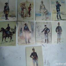 Militaria: 9 TARJETAS POSTALES CON LOS UNIFORMES MILITARES PORTUGUES DA COLECÇAO DE COLECÇAO DE AQUARELAS. Lote 268851349