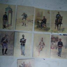 Militaria: 9 TARJETAS POSTALES CON LOS UNIFORMES MILITARES PORTUGUES DA COLECÇAO DE COLECÇAO DE AQUARELAS. Lote 268854634