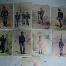 Militaria: 9 TARJETAS POSTALES CON LOS UNIFORMES MILITARES PORTUGUES DA COLECÇAO DE COLECÇAO DE AQUARELAS. Lote 268855224