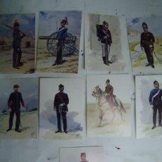 Militaria: 9 TARJETAS POSTALES CON LOS UNIFORMES MILITARES PORTUGUES DA COLECÇAO DE COLECÇAO DE AQUARELAS. Lote 268856099