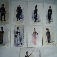 Militaria: 9 TARJETAS POSTALES CON LOS UNIFORMES MILITARES PORTUGUES DA COLECÇAO DE COLECÇAO DE AQUARELAS. Lote 268869054