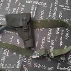 Militaria: ANTIGUO CINTURON CEÑIDOR LONA Y FUNDA PISTOLA DE GUARDIA CIVIL BENEMERITA UNIFORME CAMPAÑA. Lote 274637573
