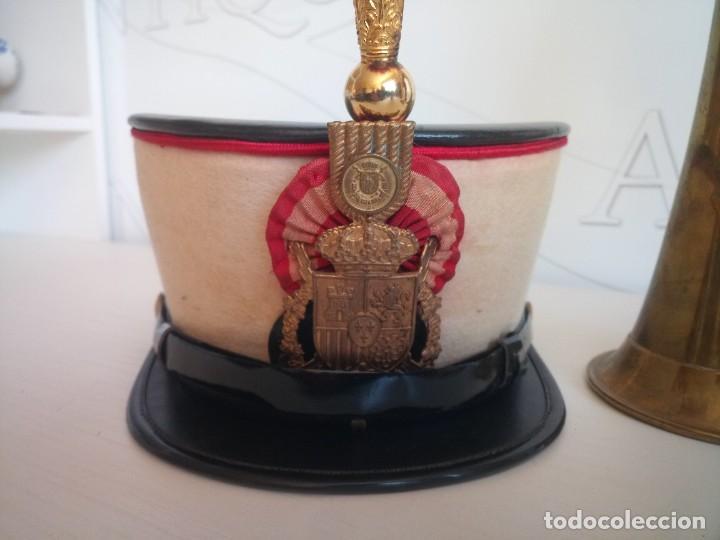 Militaria: Lote militar guardia real ros sombrero y corneta trompeta - Foto 5 - 278184568