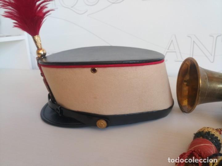 Militaria: Lote militar guardia real ros sombrero y corneta trompeta - Foto 7 - 278184568