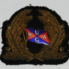 Militaria: EMBLEMA PARA GORRA DE LA NAVIERA (REMOLCADOR) URAG, UNTERWEAWER REEDEREI AG, REALIZADO EN TELA CON H. Lote 291605138