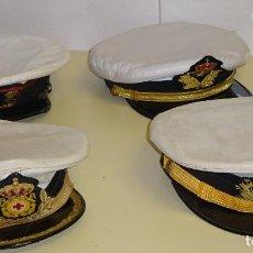 Militaria: 4 GORRAS DE PLATO ARMADA MARINA. CRUZ ROJA DEL MAR, INFANTERÍA DE MARINA. 920GR. Lote 294499188