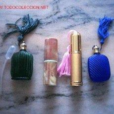 Miniaturas de perfumes antiguos: 2 PERFUMADORES Y 2 ESENCIEROS DE SPRAY. Lote 26474514