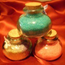 Miniaturas de perfumes antiguos: SALES DE BAÑO, EN BONITO FRASCO DE CRISTAL, 3 UNIDADES. Lote 31609731