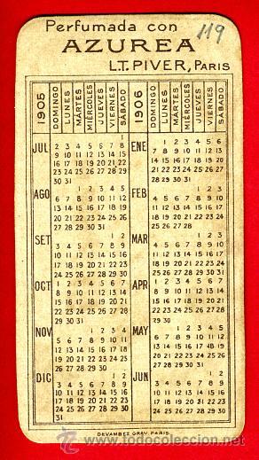Calendario 1906.Tarjeta Perfume Antigua Azurea Piver Paris Sold