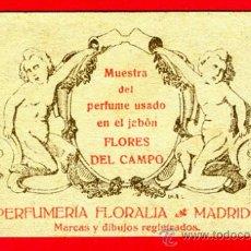 Miniaturas de perfumes antiguos: TARJETA PERFUME, ANTIGUA, FLORALIA MADRID, FLORES DEL CAMPO , ORIGINAL , TP72. Lote 35067995