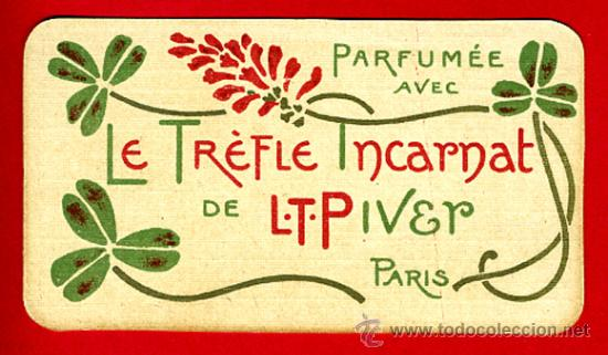 Calendario 1921.Tarjeta Perfume Antigua Le Trefle Incarnat Buy