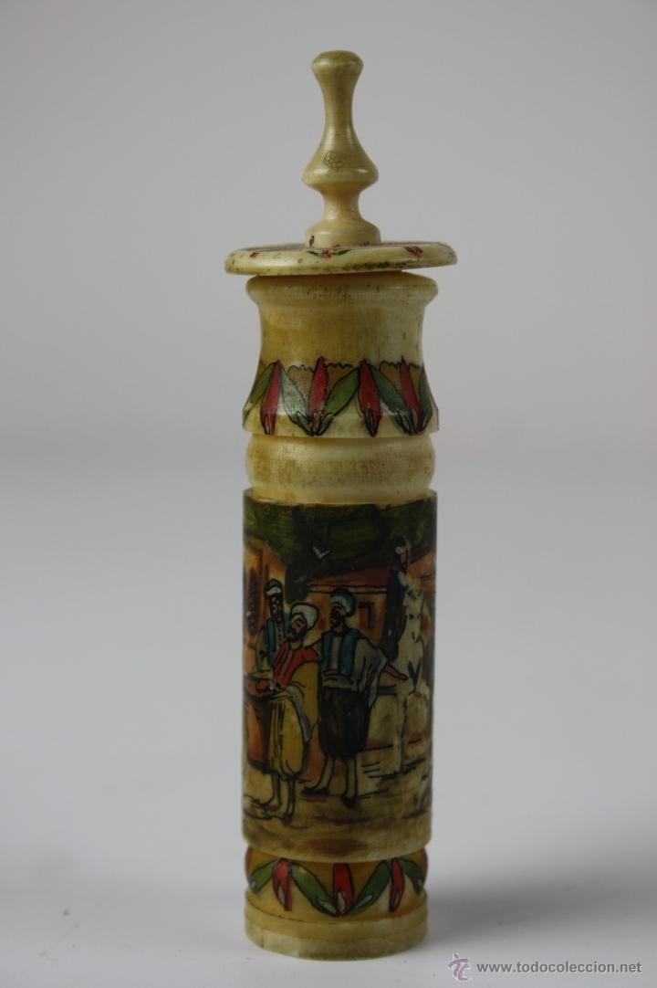 ESPLÉNDIDO PERFUMERO OTOMANO EN HUESO TORNEADO,POLICROMADO A MANO CON MOTIVOS OTOMANOS, FIN. S. XIX (Coleccionismo - Miniaturas de Perfumes)