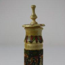 Miniaturas de perfumes antiguos: ESPLÉNDIDO PERFUMERO OTOMANO EN HUESO TORNEADO,POLICROMADO A MANO CON MOTIVOS OTOMANOS, FIN. S. XIX. Lote 40724015
