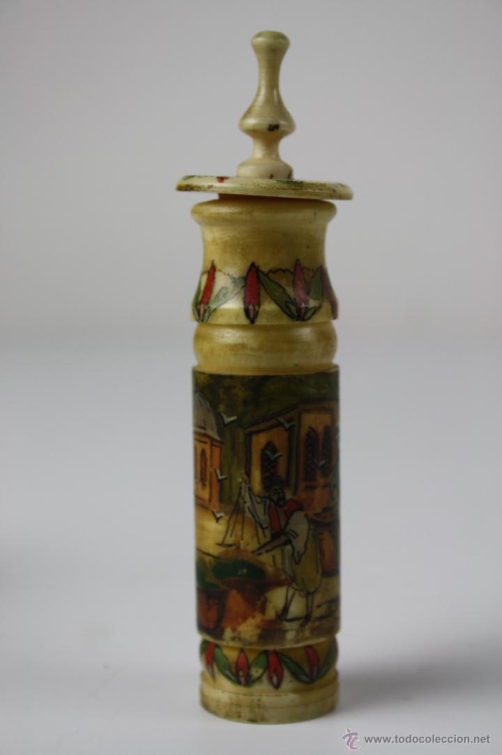 Miniaturas de perfumes antiguos: ESPLÉNDIDO PERFUMERO OTOMANO EN HUESO TORNEADO,POLICROMADO A MANO CON MOTIVOS OTOMANOS, FIN. S. XIX - Foto 2 - 40724015