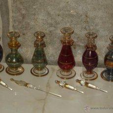Miniaturas de perfumes antiguos: ANTIGUO PERFUMERO.PRECIOSA COLECCION DE 6 PERFUMEROS EN CRISTAL VENECIANO O EGIPCIO.. Lote 44278666