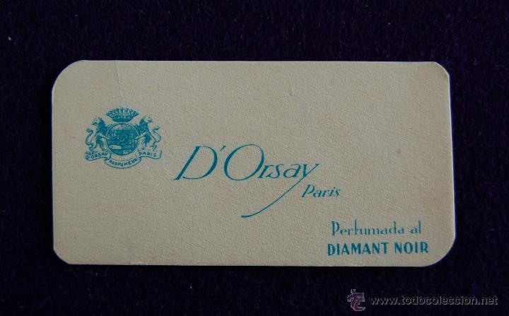 ANTIGUA TARJETA PERFUMADA. DIAMANT NOIR. D´ORSAY PARIS. 7,5X4 CM. (Coleccionismo - Miniaturas de Perfumes)
