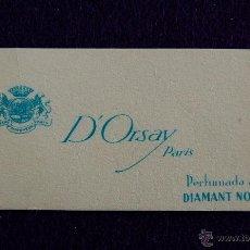 Miniaturas de perfumes antiguos: ANTIGUA TARJETA PERFUMADA. DIAMANT NOIR. D´ORSAY PARIS. 7,5X4 CM.. Lote 48222799
