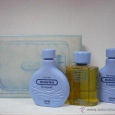 Miniaturas de perfumes antiguos: NECESER MOANA DE PUIG-COLONIA-GEL Y BODY MILK TODO EN 200ML. Lote 49170565