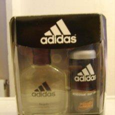 Miniaturas de perfumes antiguos: SET ADIDAS TEAM EAU DE TOILETTE 100ML + DESODORANTE SPRAY 150ML. Lote 49435647