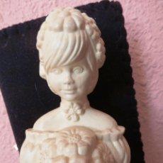Miniaturas de perfumes antiguos: VINTAGE FRASCO DAMA CON FLORES COLONIA DE AVON 'CHARISMA' MEDIO LLENO. Lote 51391728