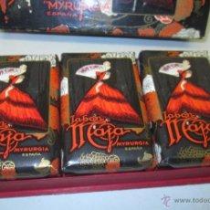 Miniaturas de perfumes antiguos: CAJA CON 3 PASTILLAS DE JABÓN MAJA MYRURGIA, AÑOS 60-70. Lote 54846419