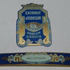 Miniaturas de perfumes antiguos: 2 ETIQUETAS PARFUM EXQUIS - HELIOTROPE - MODERNISTA PRINCIPIOS DE SIGLO AÑOS 20, MIDE 4 X 3,2 CMS. Y. Lote 56198776