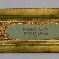 Miniaturas de perfumes antiguos: ETIQUETA PARFUM EXQUIS - MODERNISTA PRINCIPIOS DE SIGLO AÑOS 20, MIDE 8,6 X 2 CMS.. Lote 56198900
