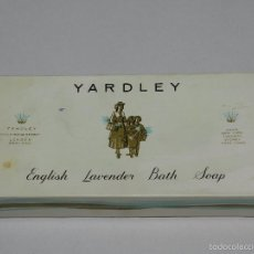 Miniaturas de perfumes antiguos: (M) YARDLEY ENGLISH LAVENDER BATH SOAP, LONDON , JABON, CAJA PARA ESTRENAR. Lote 56370735