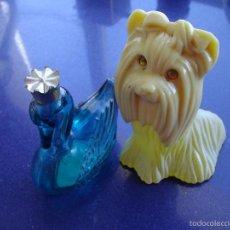 Miniaturas de perfumes antiguos: LOTE AVON BOTELLA PERFUME PRINCESS YORKSHIRE TERRIER PERRO CISNE CRISTAL CON CORONA AÑOS 70 VINTAGE. Lote 56215117