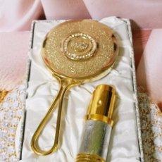 Miniaturas de perfumes antiguos: MYRNA PONS: ESTUCHE ESPEJO BRILLANTES & PERFUMERO METAL - PLAQUÉ ORO. Lote 61295195