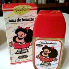 Miniaturas de perfumes antigos: COLONIA INFANTIL / PERFUME MAFALDA 100 ML + PEGATINA. 1991. QUINO. SEGURA EAU DE TOILETTE. Lote 65988158
