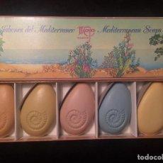 Miniaturas de perfumes antiguos: 5 JABONES DEL MEDITERRANEO- MAJA FRAGANCES. Lote 66192950