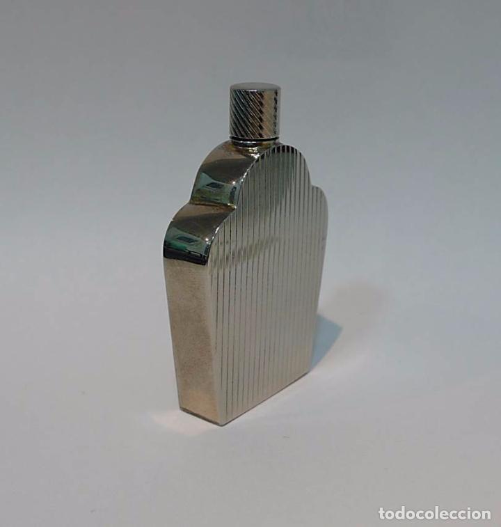 Miniaturas de perfumes antiguos: Perfumero metal cromado estilo Art Decó - S.XX - Foto 2 - 50948499