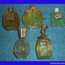 Miniaturas de perfumes antiguos: 5 PEQUEÑOS BOTES DE COLONIA JOYA MYRURGIA TOPAZE PURSE PETITE IKEBA KONO MITU. Lote 74987919