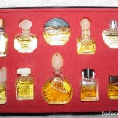 Miniaturas de perfumes antiguos: CAJA DE PERFUMES DE MINIATURA PARIS,ANTILOPE,LICANN,TURBULENCES,CABOCHARD,FLEURS DE ROCAILLE,AÑOS 70. Lote 174244007