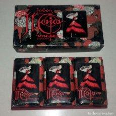 Miniaturas de perfumes antiguos: ESTUCHE CON 3 JABONES CON OLOR A ESTRENAR MAJA DE MYRURGIA. Lote 75986907