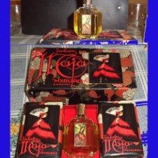 Miniaturas de perfumes antiguos: ESTUCHE MAJA DE MYRURGIA BOTE DE COLONIA MAS 2 PASTILLAS JABON . Lote 80670270