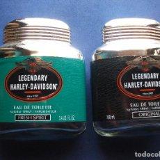 Miniaturas de perfumes antiguos: FRASCOS COLONIA (2) HARLEY DAVISON (2) FRASCOS DE CRISTAL SPRAY PDELUXE. Lote 101156650