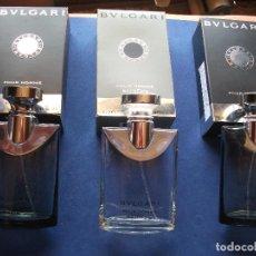 Miniaturas de perfumes antiguos: FRASCOS COLONIA (3) BULGARI (2 SOIR +1 EXTREME) CON LA CAJA.COMPLETOS.SPRAY PDELUXE. Lote 81659508