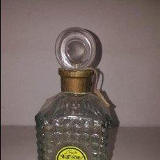Miniaturas de perfumes antiguos: BOTELLA LOCION NIGHT STORY LABORATORIOS SAPHIR CRISTAL TALLADO. Lote 85197828