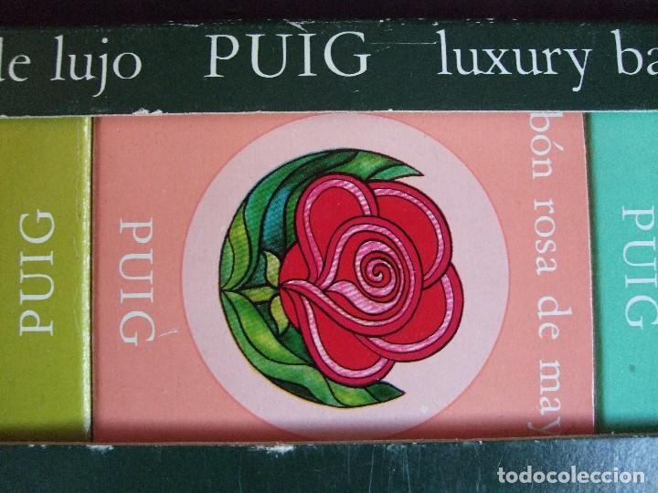 Miniaturas de perfumes antiguos: ANTIGUA CAJA DE JABON DE LUJO PUIG. JABONES PERFUMADOS - Foto 3 - 89090916