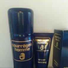 Miniaturas de perfumes antiguos: COURREGES HOMME LOTE MOUSSE À RASER Y APRES RASAGE. DESCATALOGADOS. Lote 133649898