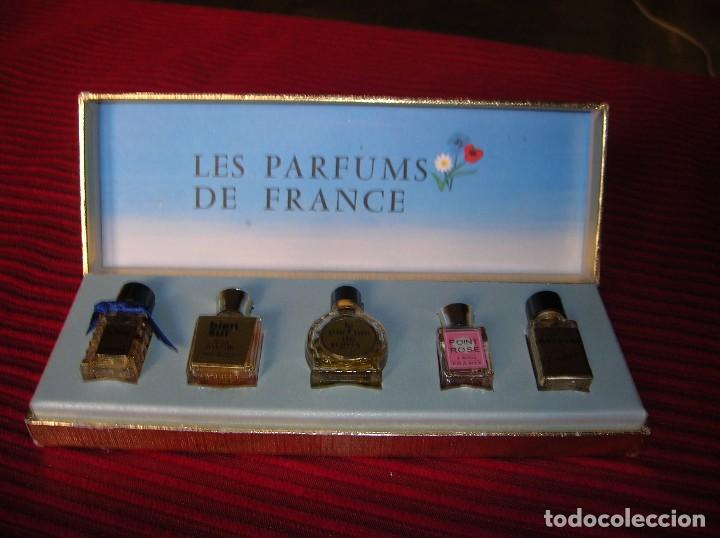 Miniaturas de perfumes antiguos: Preciosa caja con 5 frascos de perfume.Les Parfums de France. - Foto 2 - 89756804