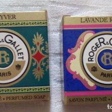 Miniaturas de perfumes antiguos: JABÓN ROGER & GALLET. LOTE DE 2 JABONES CADA UNO EN SU CAJA.. Lote 92282930