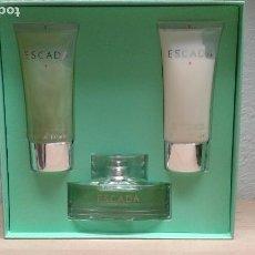 Miniaturas de perfumes antiguos: ESCADA SIGNATURE 2005 SET REGALO PERFUME 50 ML + BODY MILK 100 ML + SHOWER GEL 100 ML WOMAN. Lote 94086320