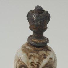 Miniaturas de perfumes antiguos: PERFUMERO. BUHO. PORCELANA ESMALTADA. EUROPA. SIGLO XIX. Lote 94804231