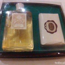 Miniaturas de perfumes antiguos: ANTIGUA CAJA ESTUCHE PERFUMERIA MYRURGIA COLONIA 1916 JABON 1916 PRECINTADA DE ORIGEN. Lote 94945463